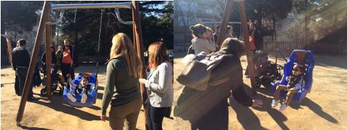 Sara, Sofía y Aleix son los priemra usuarios del columpio adaptado. Fotos: AJ
