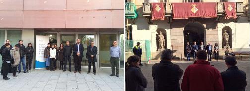 El minuto de silencio ante el Ayuntamiento y ante el Centro Cívico Pla d'en Boet. Fotos: Ayuntamiento