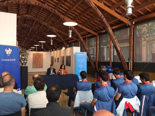 Josep Maria Font i Marta Parera han donat la benvinguda als participants a la Nau Guadí. Foto: Ajuntament