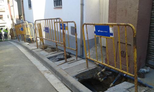 Las obras, durante los primeros días de ejecución. Foto: Aguas de Mataró