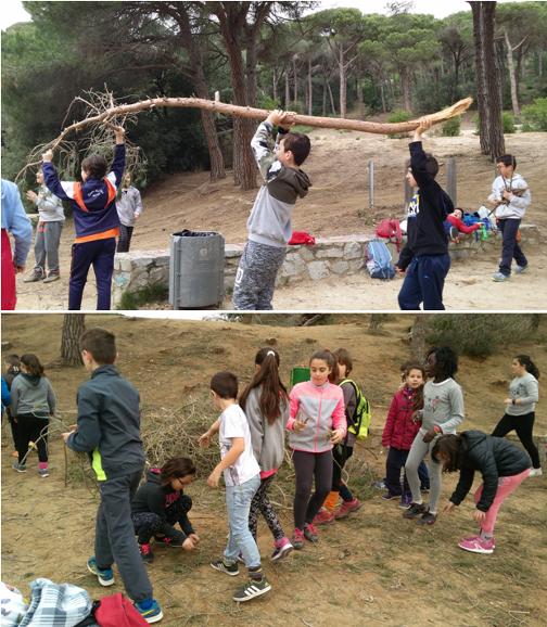 Alumnos de la Escuela Camino del Cros (arriba) y de la Escuela La Llàntia (abajo) recogiendo los restos vegetales. Fotos: cedidas