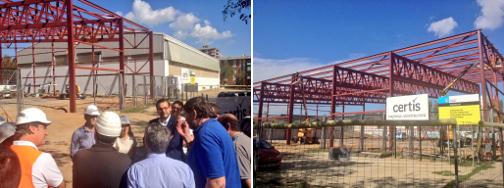 A la izquierda, el alcalde durante la visita. A la derecha, estado de las obras. Fotos: Ayuntamiento de Mataró