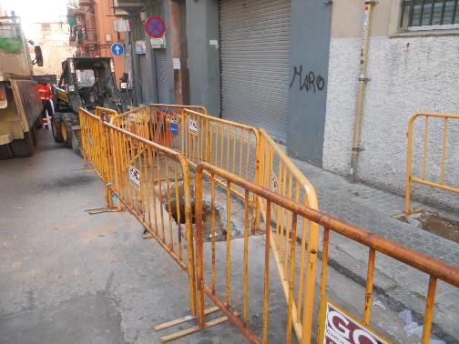 Una imatge del carrer de Mèxic, ja en obres. Foto: Aigües de Mataró