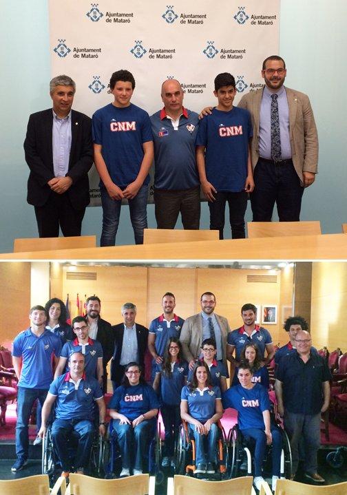 Foto 1a: Pol Dora, Jan Ruiz y Ernest Gil. 2ª foto: parte del equipo de deporte adaptado, con el alcalde y el concejal. Fotos: AJ