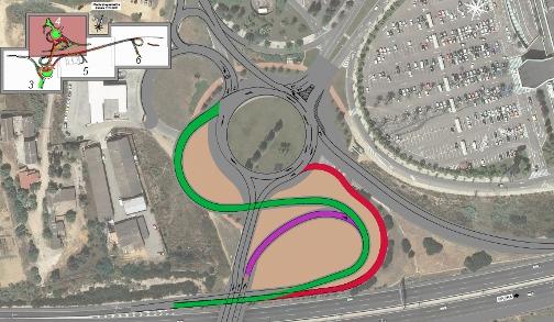En verd, nou accés sentit BCN. En morat, anul·lació provisional accés segregat. En vermell, anul·lació definitiva