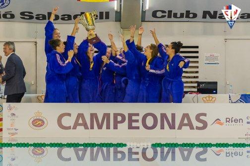 La Sirena CN Mataró celebrant el seu triomf a la Copa de la Reina. Foto: CN Mataró