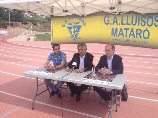 José Ríos, José M. Font y Joan Villuendas, este mediodía en el Estadio Municipal de Ateltisme. Foto: AJ